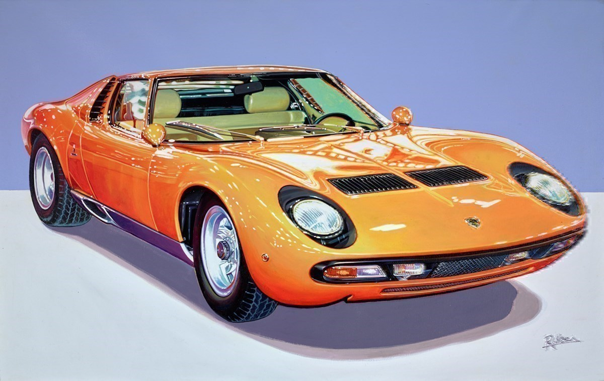1972 Lamborghini Miura P400 SV by Roz Wilson -  sized 38x24 inches. Available from Whitewall Galleries